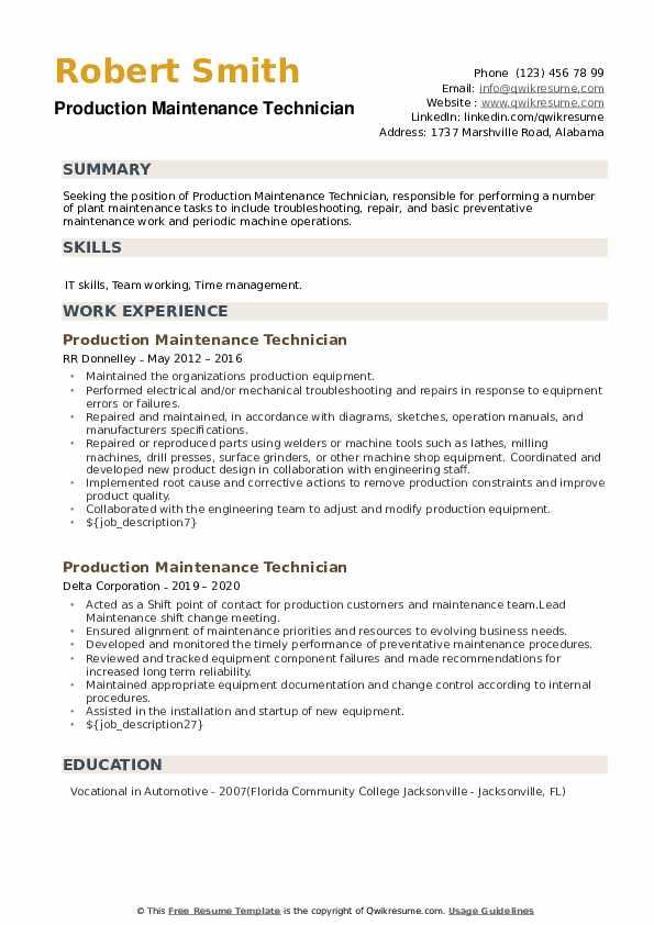 Production Maintenance Technician Resume example