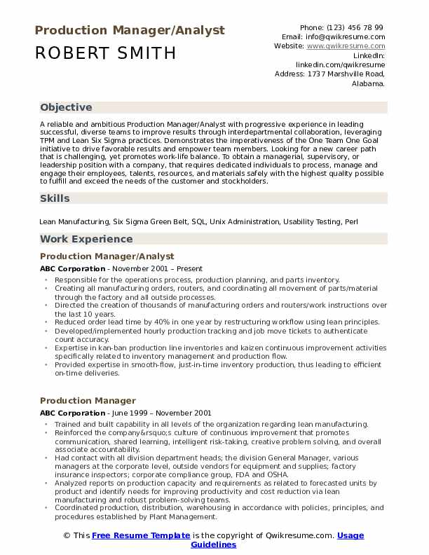 Production Manager/Analyst Resume Sample