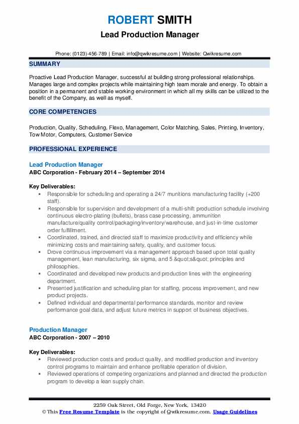 Lead Production Manager Resume Template