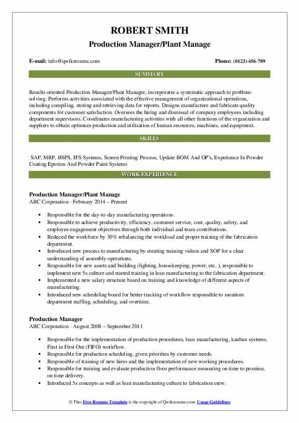 Production Manager/Plant Manage Resume Model