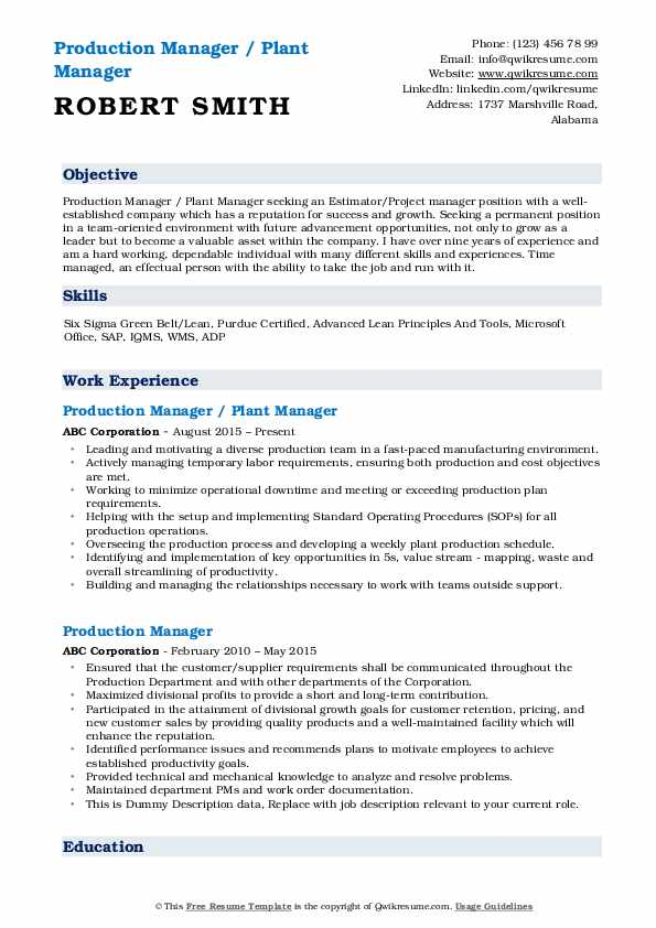Production Manager / Plant Manager Resume Model