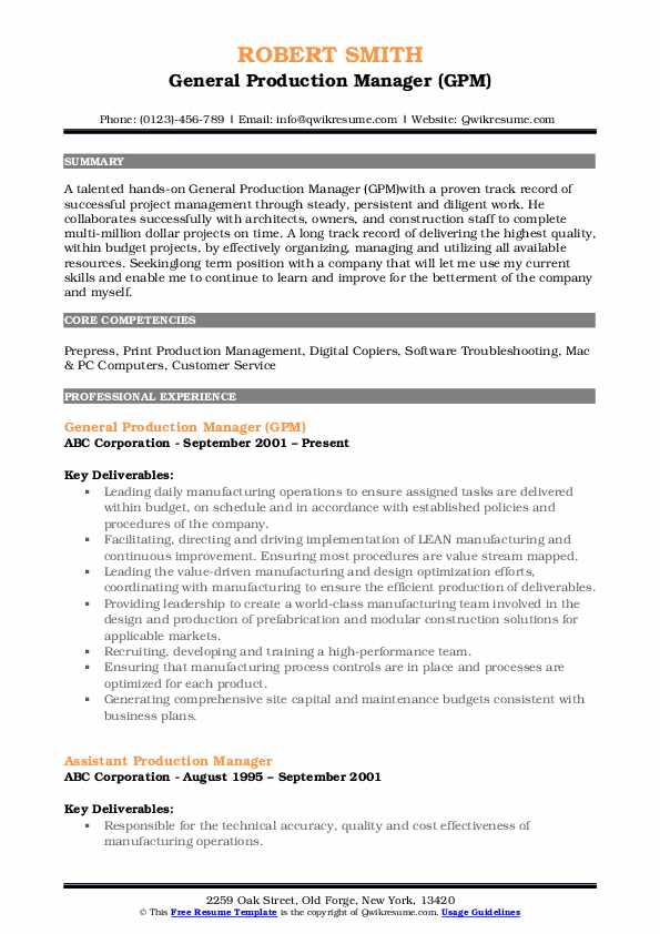 General Production Manager (GPM) Resume Model