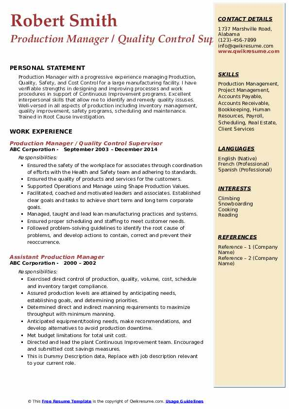 Production Manager Resume Samples Qwikresume