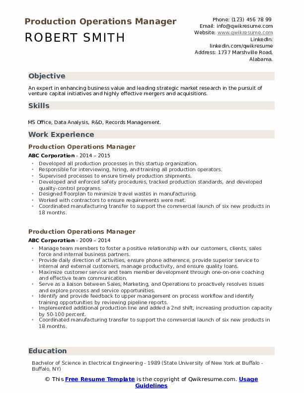 Production Operations Manager Resume example