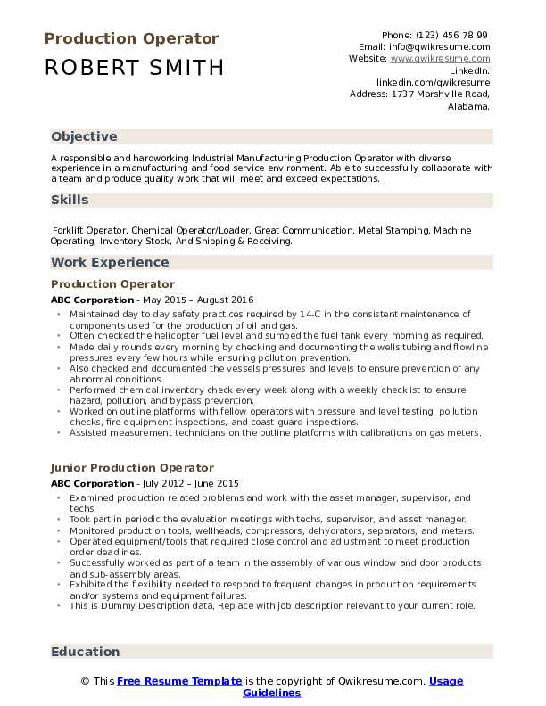 Production Operator Resume Format