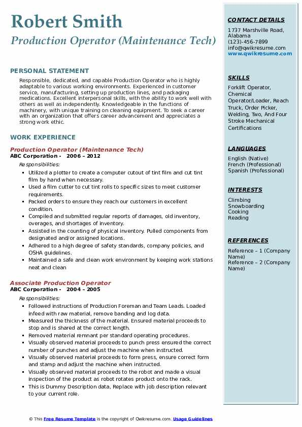 Production Operator (Maintenance Tech) Resume Sample