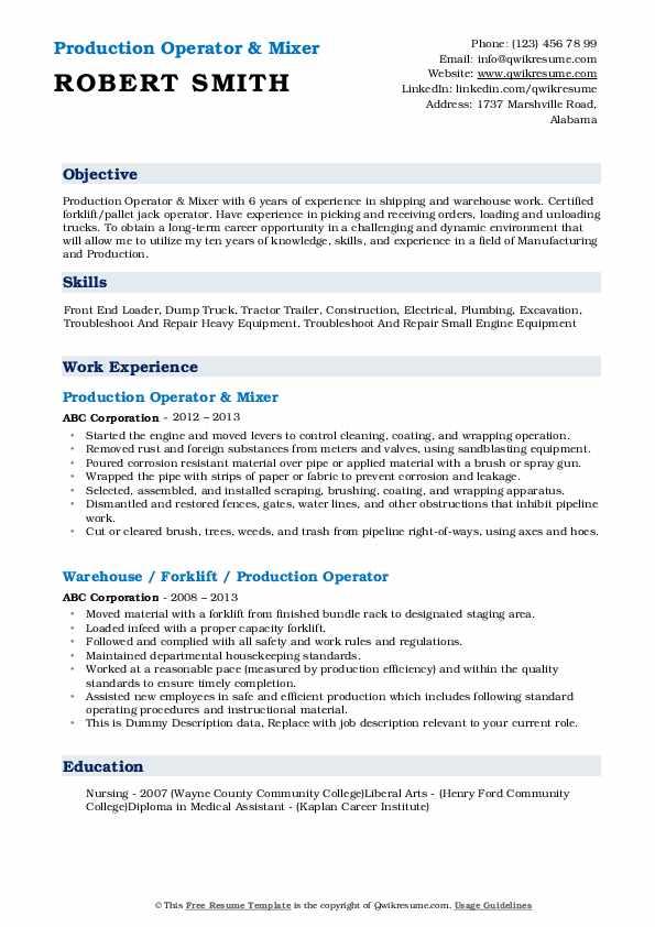 Production Operator & Mixer Resume Example