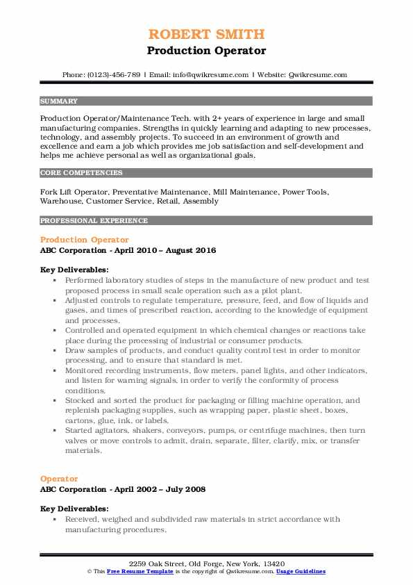 Production Operator Resume Model