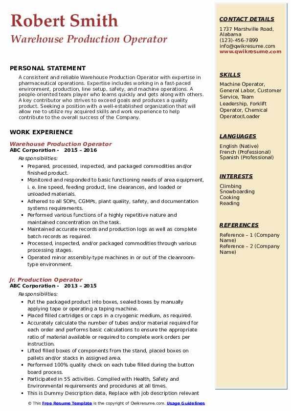 Warehouse Production Operator Resume Example