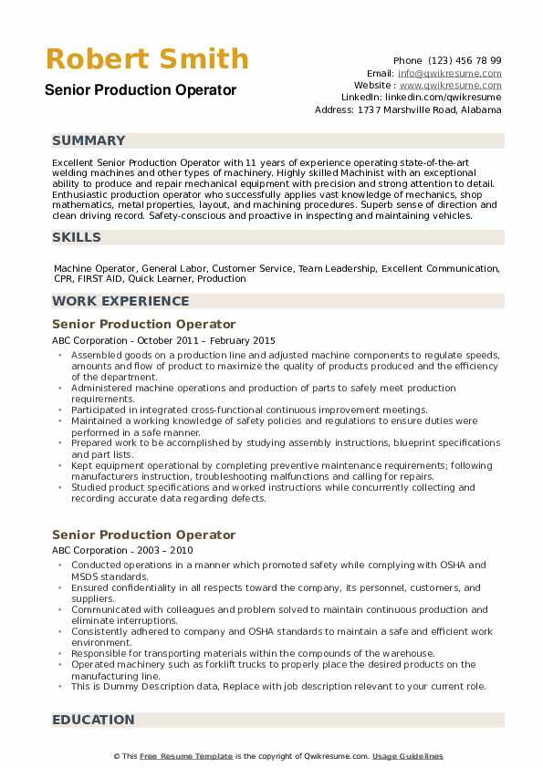 production operator resume samples