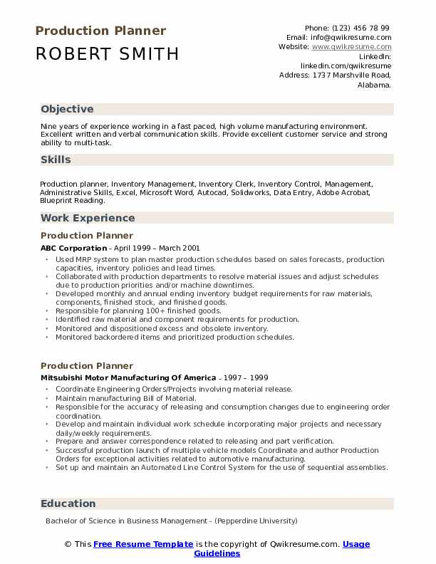 Production Planner Resume Model