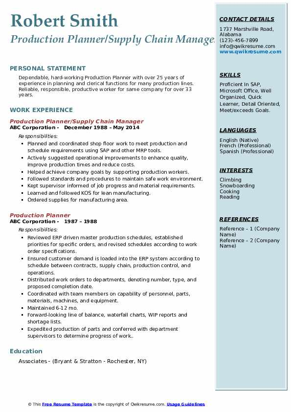 Production Planner/Supply Chain Manager Resume Sample
