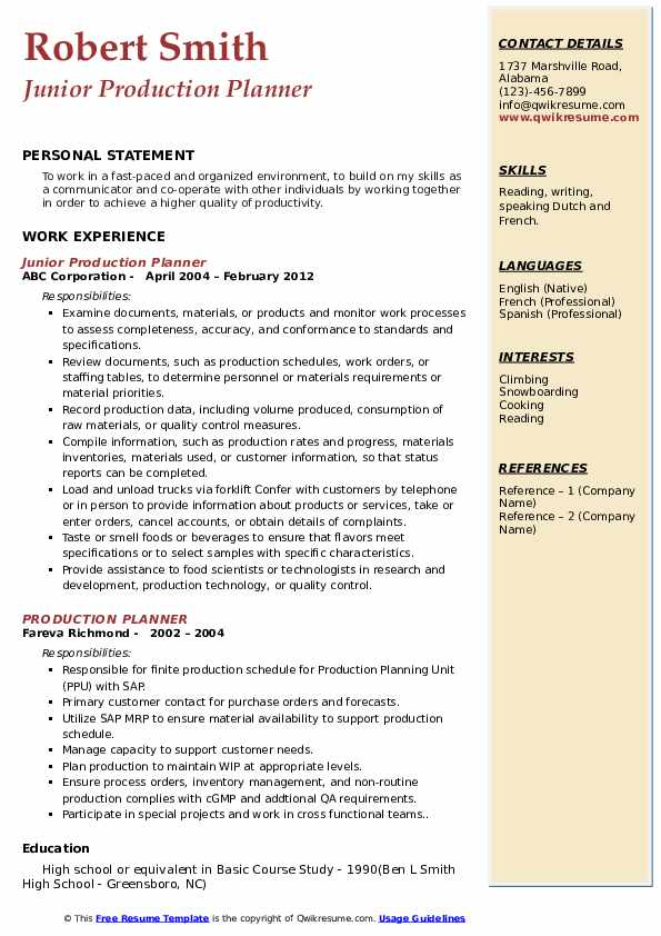 Junior Production Planner Resume Model