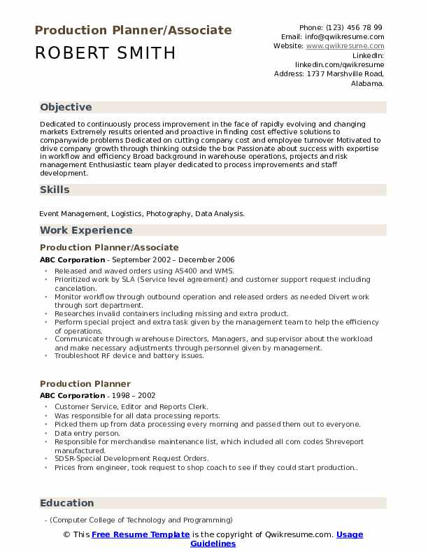 Production Planner/Associate Resume Format