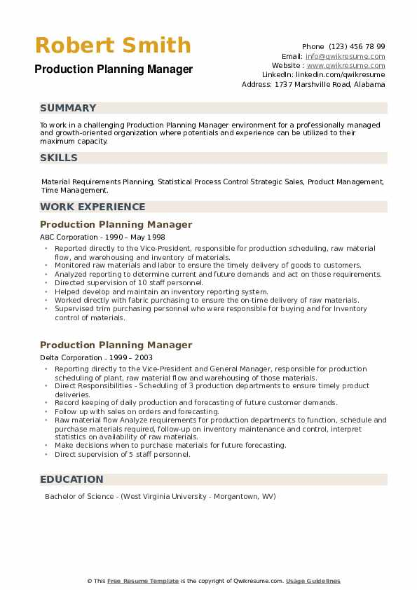 Production Planning Manager Resume example