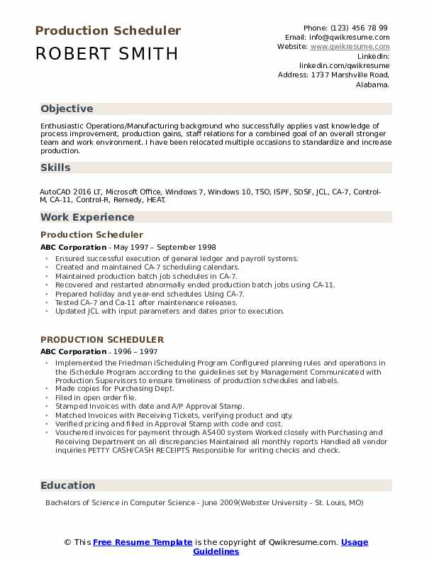 Production Scheduler Resume Model