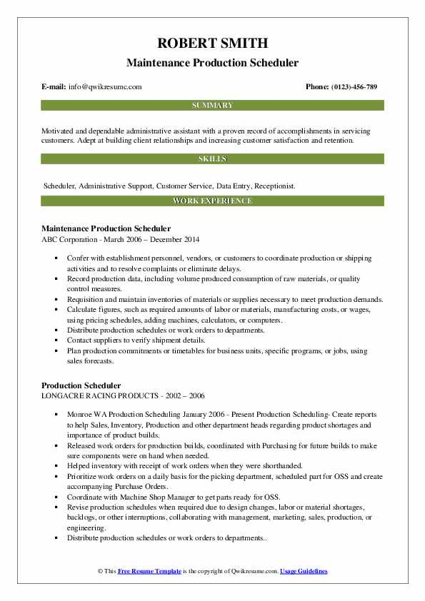 Maintenance Production Scheduler Resume Example
