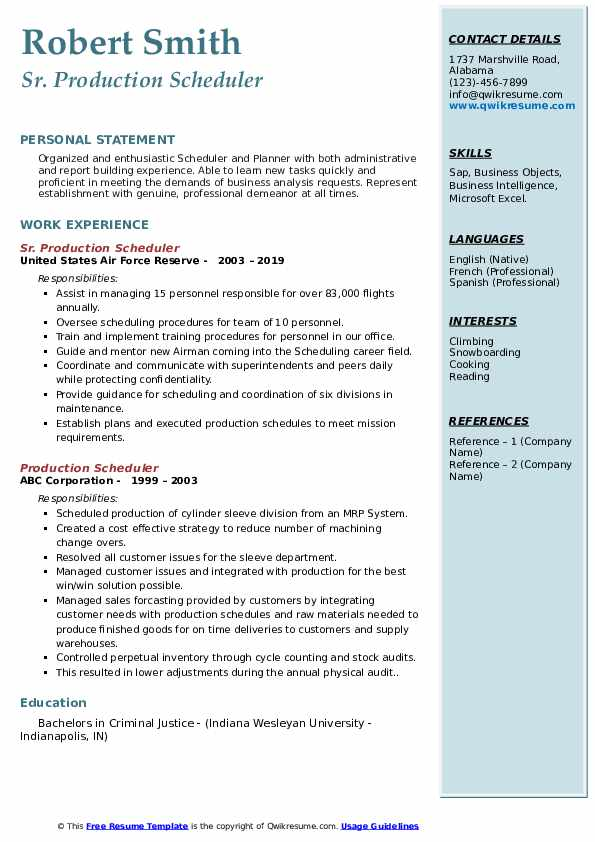 Sr. Production Scheduler Resume Sample