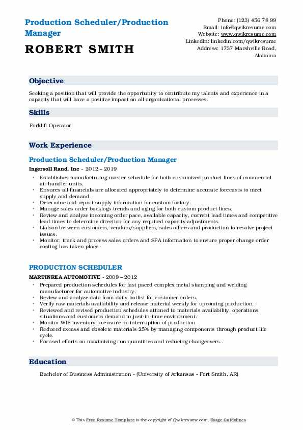 Production Scheduler/Production Manager Resume Model