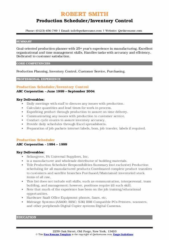 Production Scheduler/Inventory Control Resume Template