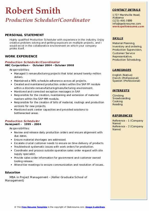 Production Scheduler/Coordinator Resume Model