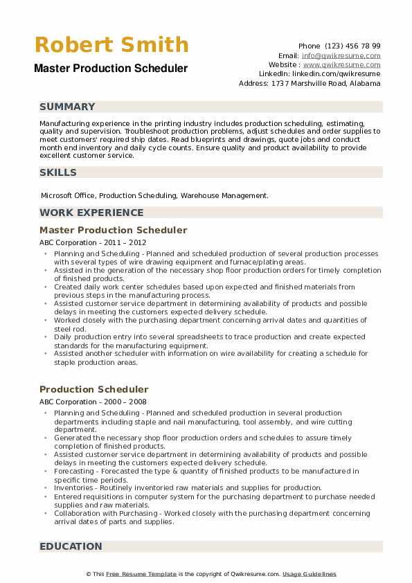 Master Production Scheduler Resume Format
