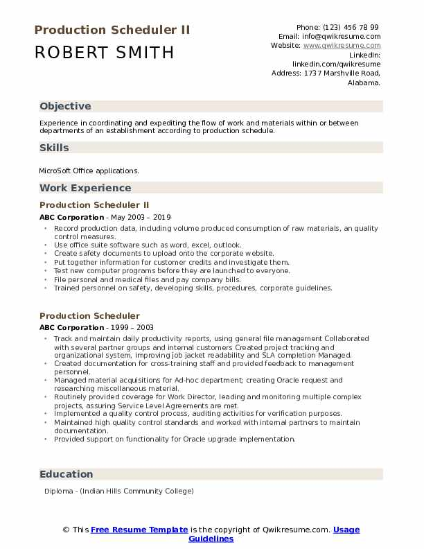 Production Scheduler II Resume Sample