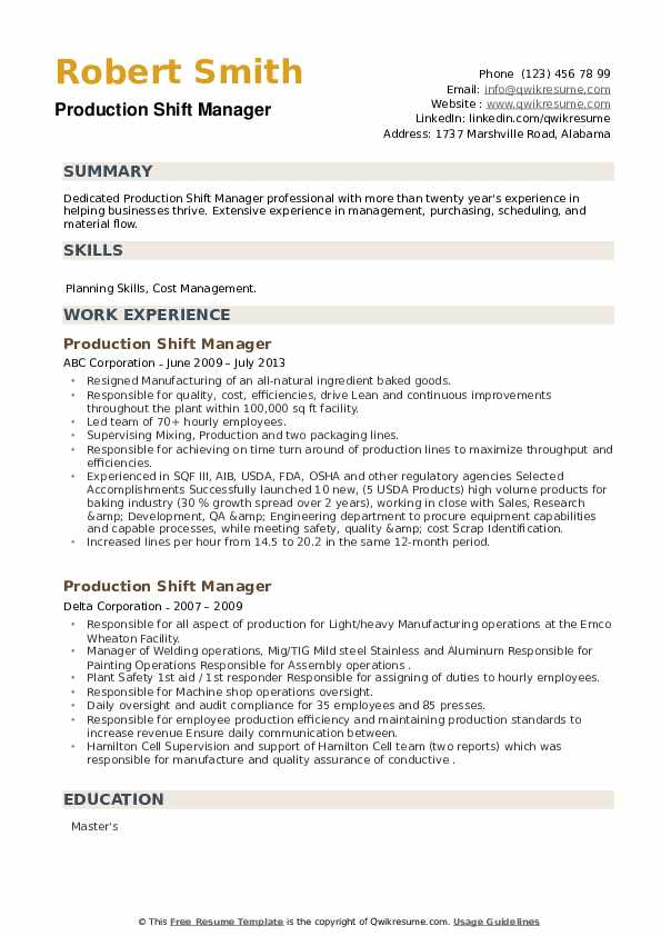 Production Shift Manager Resume example