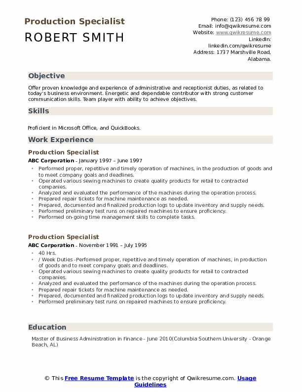 Production Specialist Resume Sample