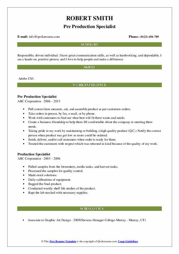 Pre Production Specialist Resume Format