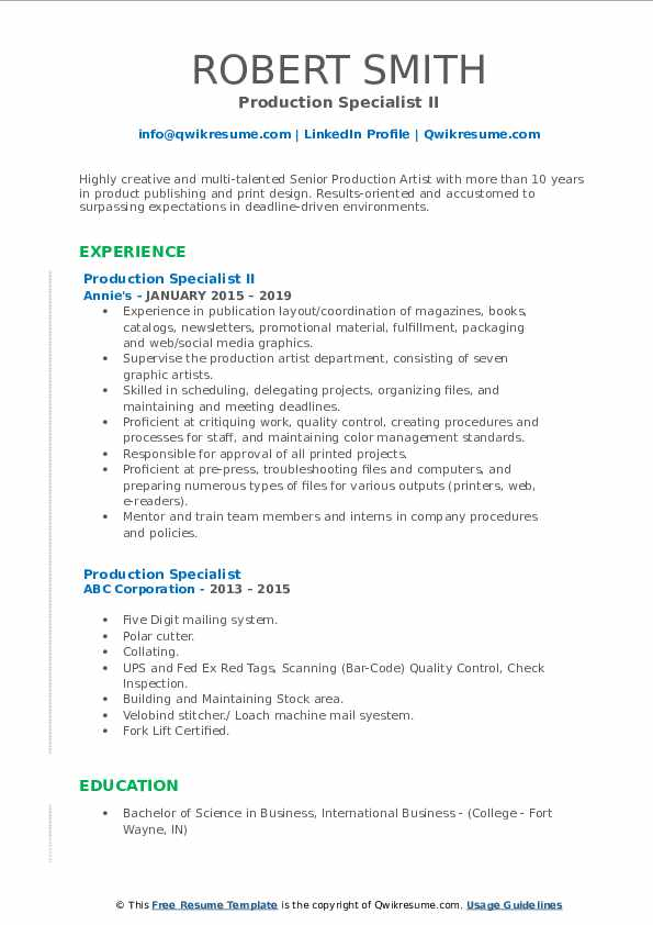 Production Specialist II Resume Sample