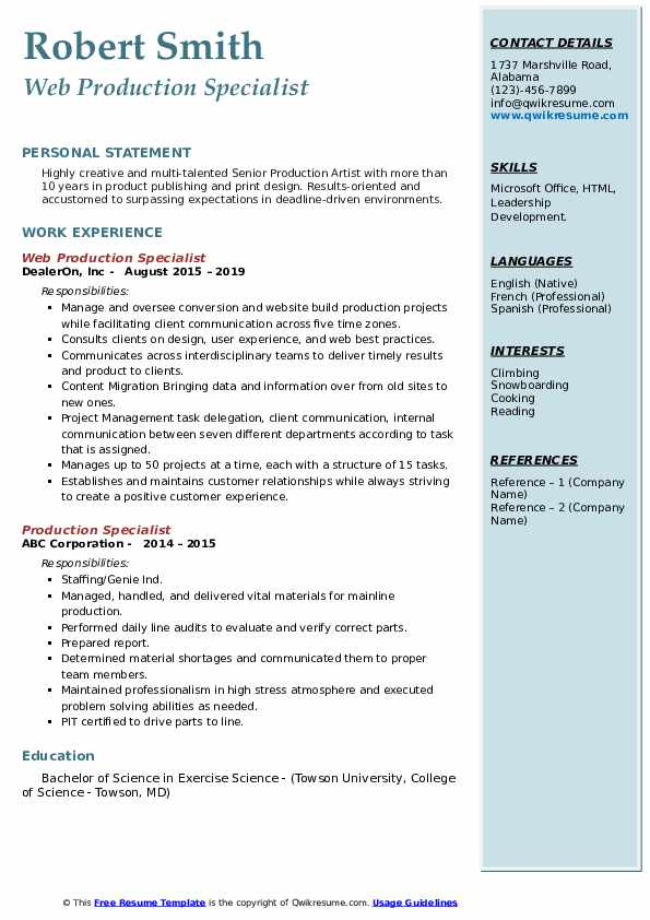 Web Production Specialist Resume Example