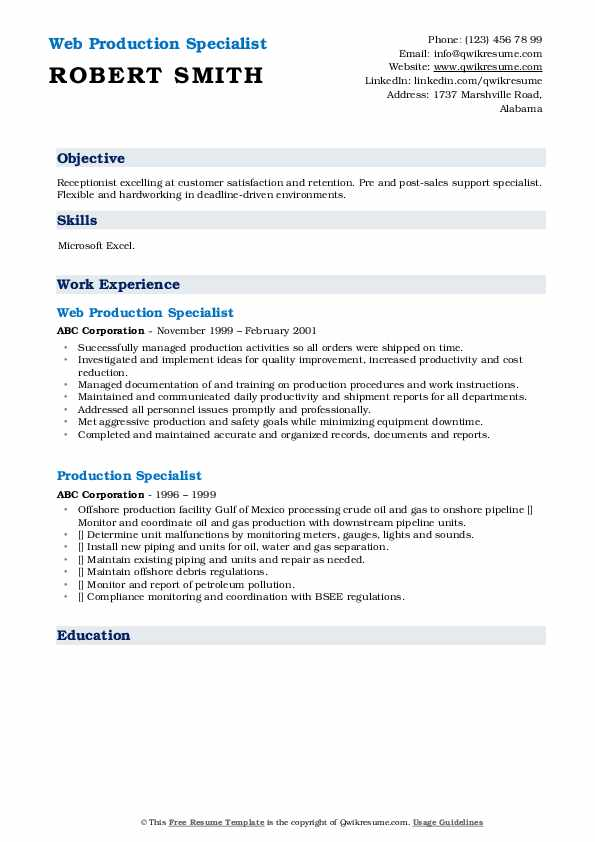 Web Production Specialist Resume Template