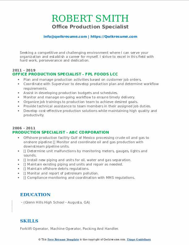 Office Production Specialist Resume Sample