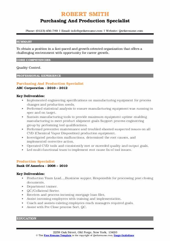 Purchasing And Production Specialist Resume Model
