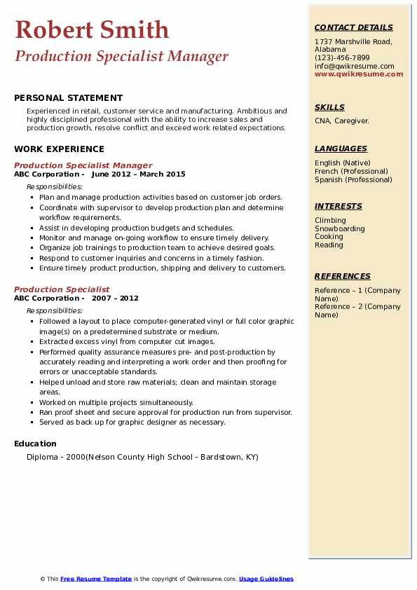 Production Specialist Manager Resume Model