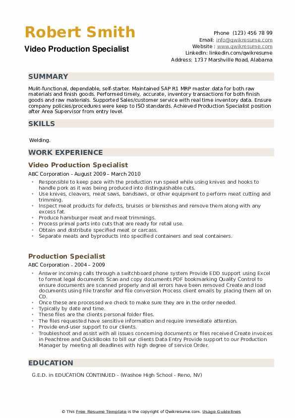 Video Production Specialist Resume Format