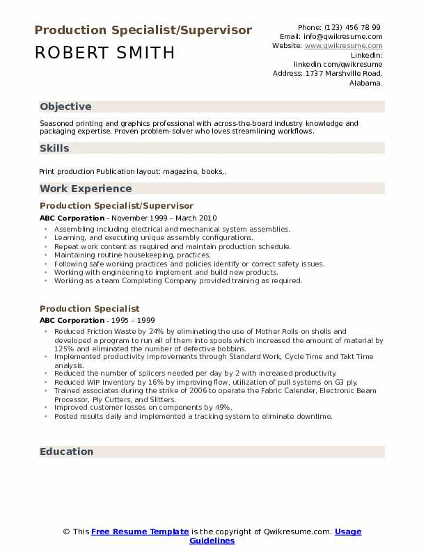 Production Specialist/Supervisor Resume Sample