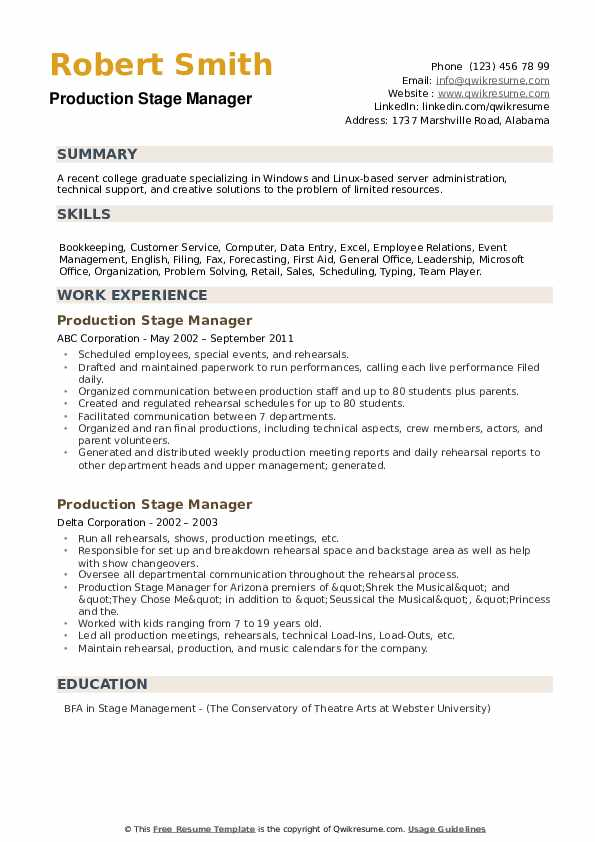 Production Stage Manager Resume example