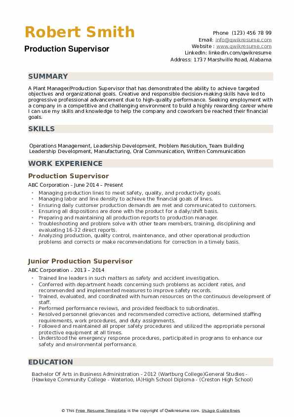 production supervisor resume samples