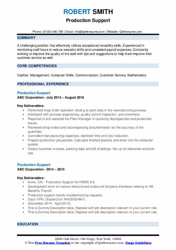 Production Support Resume example