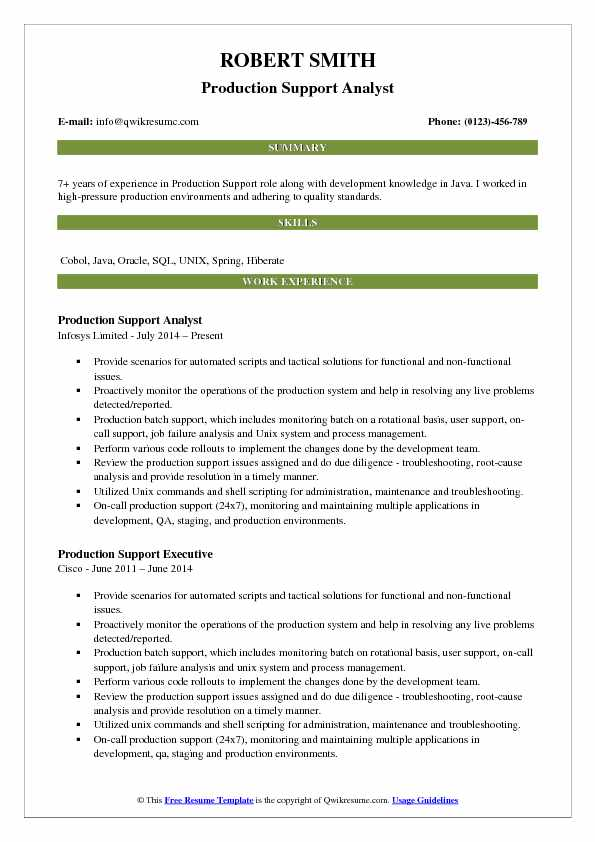 Production Support Analyst Resume Samples | QwikResume