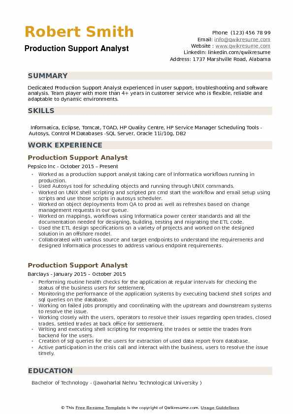 production support analyst resume samples