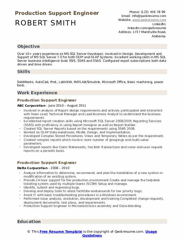 production support engineer resume samples