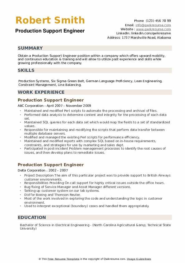 Production Support Engineer Resume example