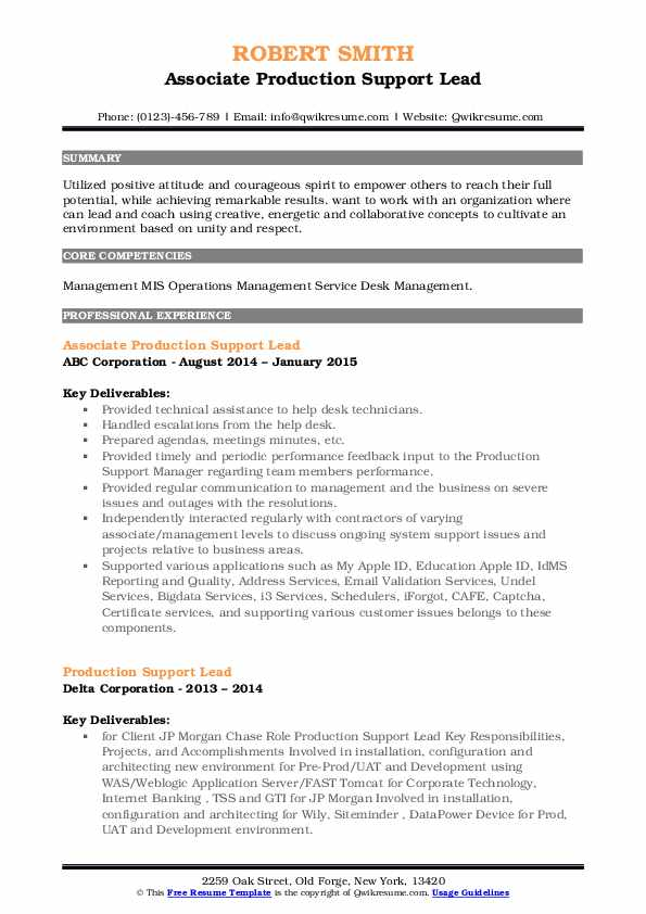 production support lead resume samples  qwikresume