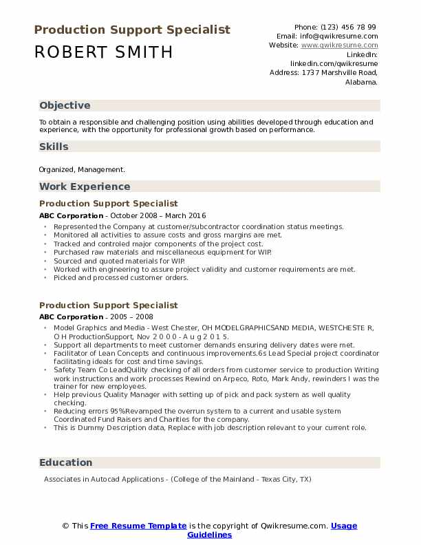 Production Support Specialist Resume example