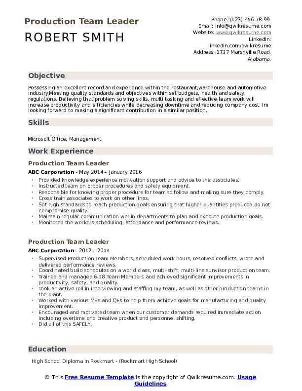 Production Team Leader Resume Samples | QwikResume