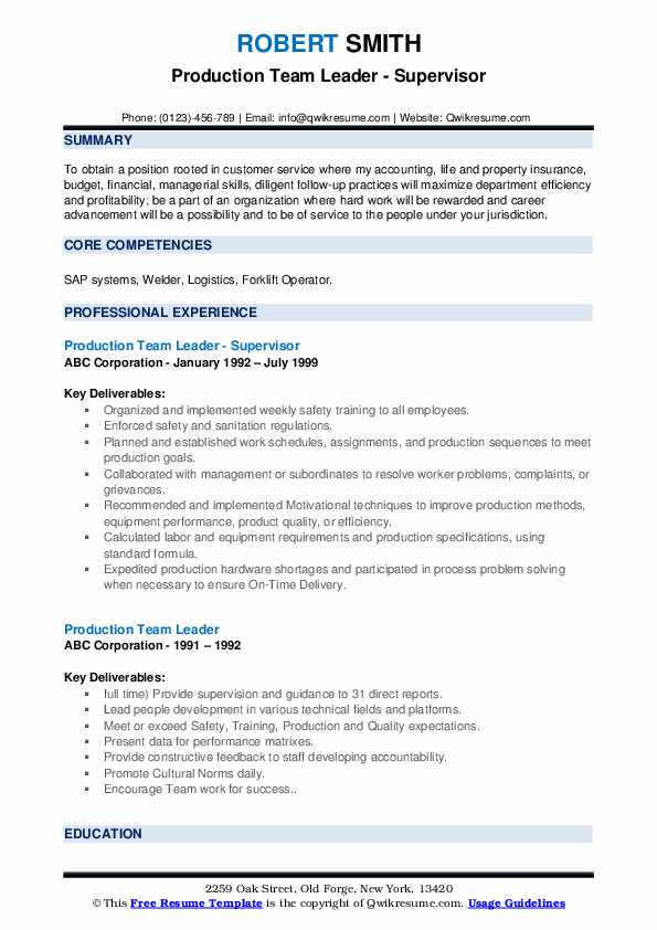 Production Team Leader - Supervisor Resume Example