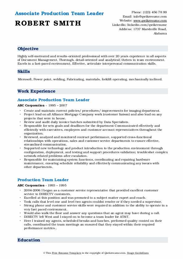 Associate Production Team Leader Resume Model